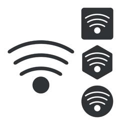 Wi-Fi icon set monochrome vector