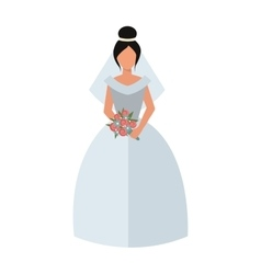 Woman wearing wedding white dress fashion bride vector image