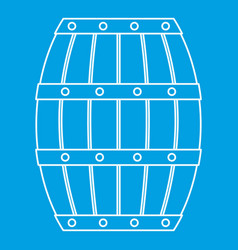 Wooden barrel icon outline style vector