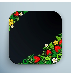 Black rounded square icon with floral ornament vector image