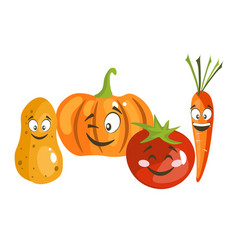 cartoon vegetable cute characters face vector image vector image
