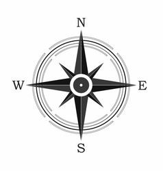 compass icon on white background vector image vector image