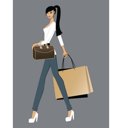 Lady with bags vector image vector image