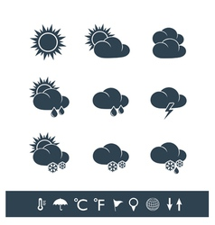 Weather icons black and white vector image