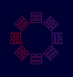 bagua sign line icon with gradient from vector image