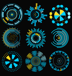 cartoon hud futuristic element set vector image