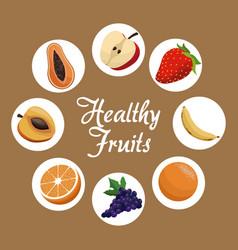 healthy fruit harvest food poster vector image