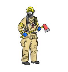 man in firefighter uniform sketch vector image