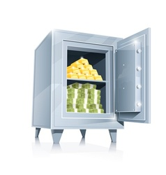 open metallic safe with gold vector image