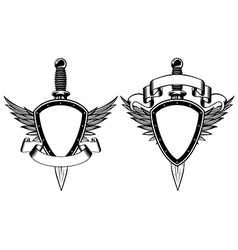 Shield and dagger vector image vector image