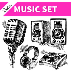 Sketch music set vector image