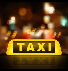 taxi sign on car roof vector image