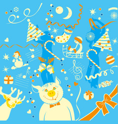 the of new year different elements vector image vector image