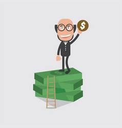 bald head businessman on banknotes vector image