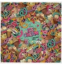 Cartoon hand drawn doodles Ice Cream vector image