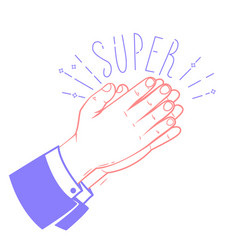 icon clapping hands with the text super vector image vector image