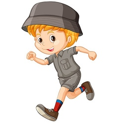 Little boy in camping outfit running vector image