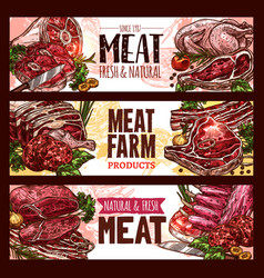 meat fresh cut of beef and pork sketch banner set vector image