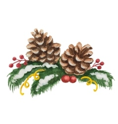 Watercolor Christmas of fir tree vector image