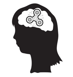 woman with spinner in the brains vector image vector image