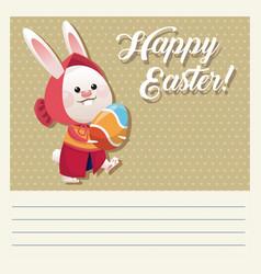 cartoon happy easter girl bunny egg vector image vector image