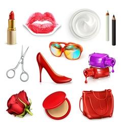 Red ladies handbag with cosmetics accessories vector image