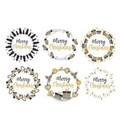 Set of isolated christmas gold frames vector