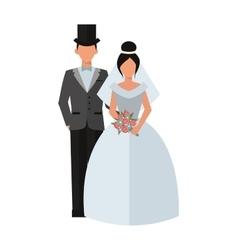 Wedding couple people on white vector image