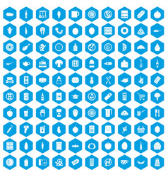 100 lunch icons set blue vector image
