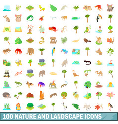 100 nature and landscape icons set cartoon style vector