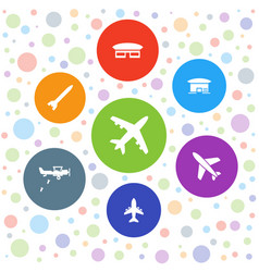 7 airplane icons vector image