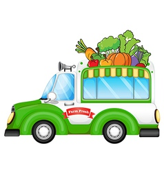 A vehicle selling fresh vegetables vector