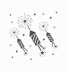 Abstract black rocket fireworks set and blasts vector