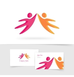 Abstract two people holding hands together vector