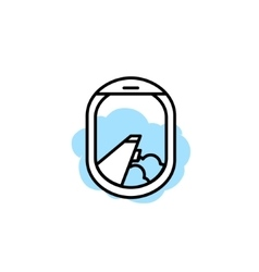 Airplane window porthole icon Wing and vector