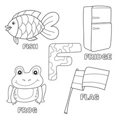 alphabet f with cartoon vocabulary for coloring vector image