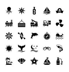 Aquatic glyph icons vector