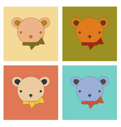 Assembly flat icons kids toy bear vector