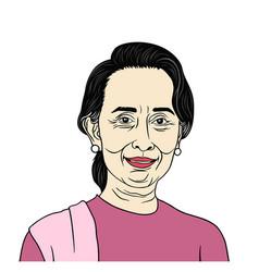 Aung san suu kyi president of myanmar vector