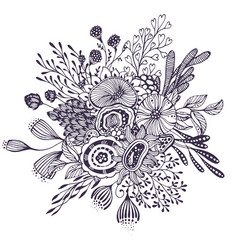 beautiful fantasy bouquet with hand drawn flowers vector image