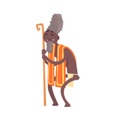 Black skinned toothless elder man aborigine vector