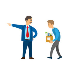 Boss director worker dismissing person from duty vector