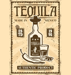 bottle tequila and glass retro poster vector image