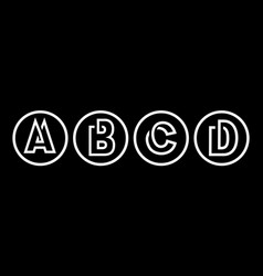 Capital letters a b c d from white stripe vector
