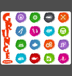 Car shop icons set in grunge style vector