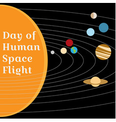 Card to day of human space flight vector