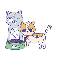 cats make me happy cute cats with bowl food vector image
