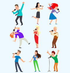cheerful corporate party singing people vector image