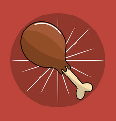 Chicken thigh food icon vector