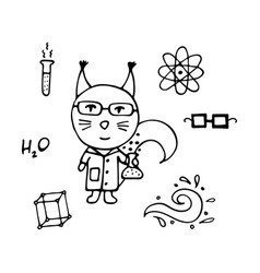 clever squirrel the chemist with a test tube vector image